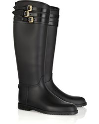 Burberry | Black Buckle-embellished Rubber Boots | Lyst