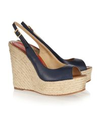 Paloma Barceló - Blue Leather Espadrille Wedge Sandals - Lyst