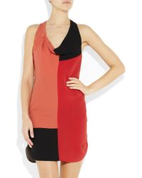 Alexander Wang - Multicolor Color-block Silk Crepe De Chine Dress - Lyst