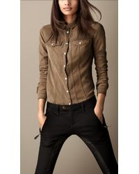 Burberry - Natural Tab Collar Denim Shirt - Lyst