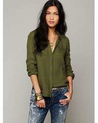 Lyst Free People Solid Gauze Button Down Shirt In Green