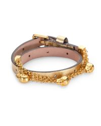Alexander McQueen | Metallic Double Wrap Leather Chain Charm Bracelet | Lyst