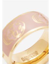 Alexander McQueen - Pink Enamel Skull Ring - Lyst
