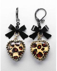 Betsey Johnson   Metallic Leopard-print Heart And Bow Drop Earrings   Lyst