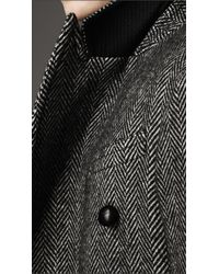 Burberry - Gray Herringbone Lambswool Coat for Men - Lyst