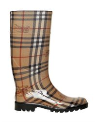 Burberry | Brown 30mm Checked Rubber Rain Boots | Lyst