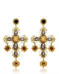 Dolce & Gabbana | Metallic Large Cross Drop Earrings | Lyst