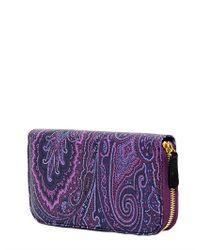 Etro   Purple Paisley Printed Zip Around Wallet   Lyst