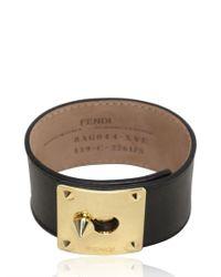 Fendi - Black Logo Plaque Leather Bracelet - Lyst