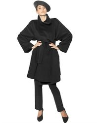 Giorgio Armani - Black Angora Wool Cloth Coat - Lyst