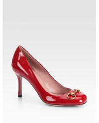 bcf1280988b8 Lyst - Gucci Patent Leather Horsebit Pumps in Red