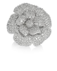Kenneth Jay Lane - Metallic Rhodium-plated Cubic Zirconia Flower Ring - Lyst