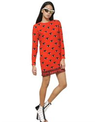 KENZO - Red Eye Printed Crepe Dress - Lyst