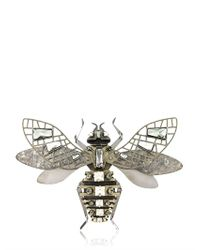 Lanvin | Metallic Swarovsky Covered Bee Shaped Brooch | Lyst