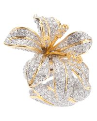 Noir Jewelry - Metallic Strass Flower Ring - Lyst