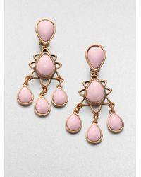 Oscar de la Renta - Pink Chandelier Earrings - Lyst