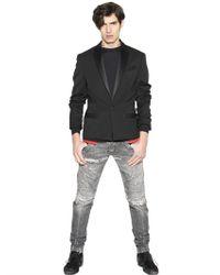 Balmain - Black Stretch Wool Twill Jacket for Men - Lyst
