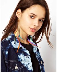 River Island | Blue Slinky Multi Coloured Feather Earring | Lyst