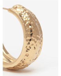 St. John - Metallic Hammered Metal Hoop Earrings - Lyst