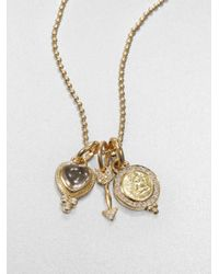 Temple St. Clair | Metallic Rock Crystal, Diamond & 18k Yellow Gold Amore Triple Charm Necklace | Lyst