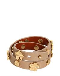 Tory Burch - Natural Leather Double Bracelet - Lyst