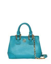 Tory Burch   Blue Mini Robinson Saffiano Leather Bag   Lyst