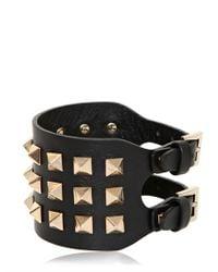 Valentino - Black Large Rockstud Leather Bracelet - Lyst