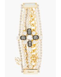 DSquared² - Metallic Gold and Crystal Multi Chain Bracelet - Lyst