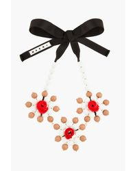Marni | White and Red Beaded Rose Statement Necklace | Lyst