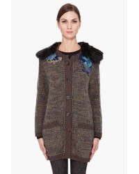 Vanessa Bruno | Brown Embroidered Cardigan | Lyst