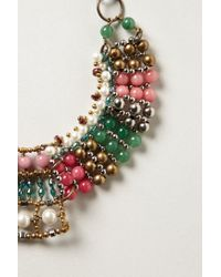 Anthropologie - Pink Batik Beaded Collar - Lyst