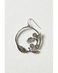 Anthropologie - Metallic Floral Vine Hoops - Lyst