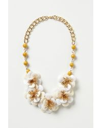 Anthropologie - White Camellia Bib Necklace - Lyst