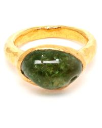 Ram | 22k Gold Ring with Green Garnet | Lyst