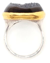 Ram - Metallic Hammered Sterling Silver and Agate Ring - Lyst
