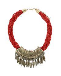 TOPSHOP | Red Plait Leaf Charm Necklace | Lyst