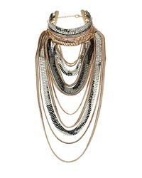 TOPSHOP - Multicolor Mega Chain Drape Necklace - Lyst