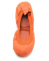 Yosi Samra - Orange Croc Embossed Ballet Flats - Lyst