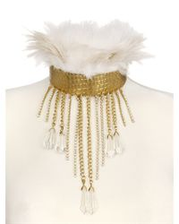 Stefano De Lellis - Metallic Ostrich Feather Rigid Brass Necklace - Lyst