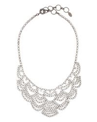 Elizabeth Cole - Metallic Lace Crystal Bib Necklace - Lyst