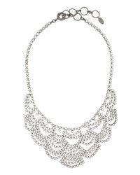 Elizabeth Cole | Metallic Lace Crystal Bib Necklace | Lyst