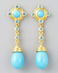 Elizabeth Locke | Metallic 19k Gold Turquoise Drop Post Earrings | Lyst