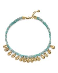 Tory Burch | Blue Puka Shell Woven Charm Short Necklace | Lyst