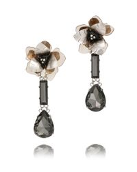 Tory Burch Metallic Floral Tear Drop Earring