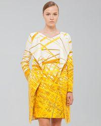 Akris - Yellow Reedprint Doubleface Coat Pollen - Lyst