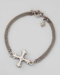 Armenta | Metallic New World Diamond Cross 3-strand Chain Bracelet | Lyst