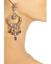 Artisan - Blue Sterling Silver Diamond and Sapphire Chandelier Earrings - Lyst