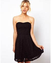 ASOS | Black Structured Lace Bandeau Skater Dress | Lyst