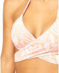 ASOS - Pink Neon Snake Print Wrap Around Triangle Bikini Top - Lyst