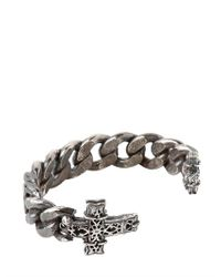Emanuele Bicocchi - Metallic Chunky Chain Sterling Silver Cross Cuff for Men - Lyst